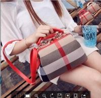 手提包欧美女士格子条纹医生包包YL056