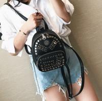 背包女韩版潮2017新款铆钉双肩包女高中学生书包双肩女包AS932