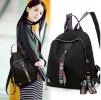 双肩包女纯色大容量学生书包多兜彩带休闲韩版背包KP8776